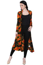 Ira Soleil black with floral print viscose knitted front open long jacket - $49.99