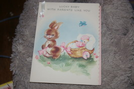 Vintage Gibson Greeting Card For New Parents Baby And Rabbit Made In U.S.A. - $8.00