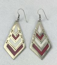 Red White Alpaca Silver Earrings Dangle Pierced Hook Vintage Mexico Jewelry - $14.95