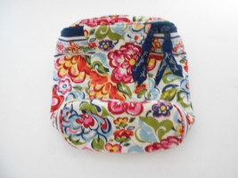 Vera Bradley Blue Pink Red Yellow Floral  Zippered Make Up Cosmetic Strap Bag - $12.53
