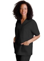 V Neck 3 Pocket Scrub Top 3XL Adar Uniforms Black Solid Nurses 601 Unise... - $16.46