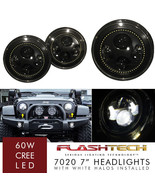 LED 7 Inch Round WHITE HALO Projector Headlights Low/High H6024 H6012 (P... - $96.21
