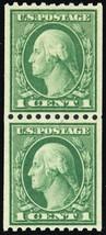 448, Mint Superb NH 1¢ RARE Nicely Centered Coil Pair -- Stuart Katz - $250.00