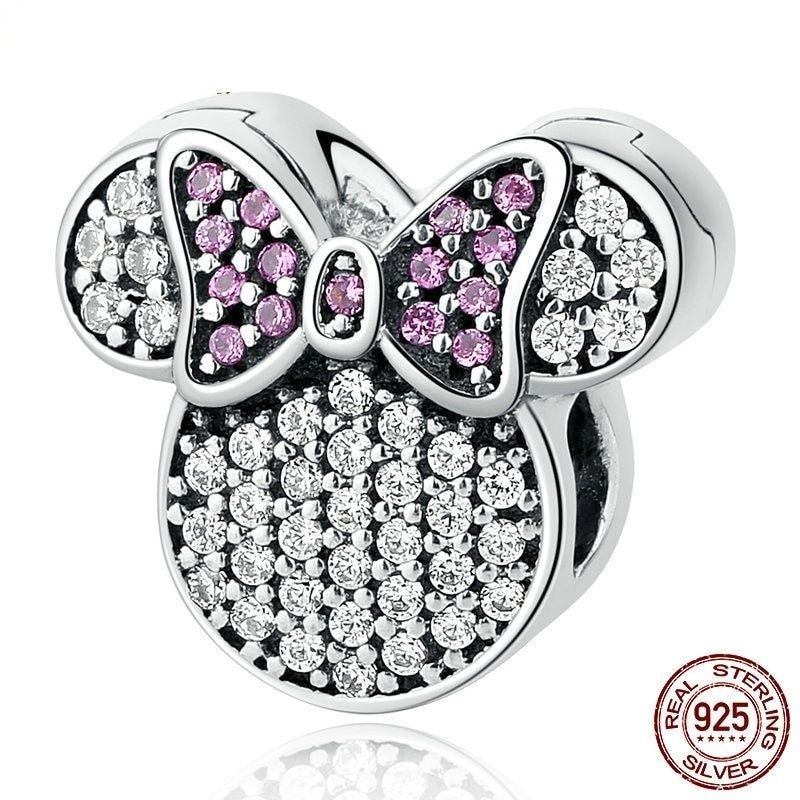 Women Cartoon Charms Fit Bracelets 925 Sterling Silver White Pink Stones Beads