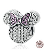 Women Cartoon Charms Fit Bracelets 925 Sterling Silver White Pink Stones... - $26.99