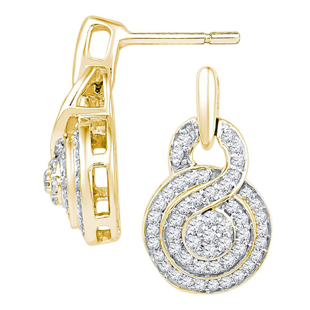 Concentric Circle Earrings: 10kt Yellow Gold Womens Round Diamond Concentric Circle