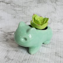 "Ceramic Bulbasaur Succulent Planter with Drainage, 4.5"", Green Animal Plant Pot"