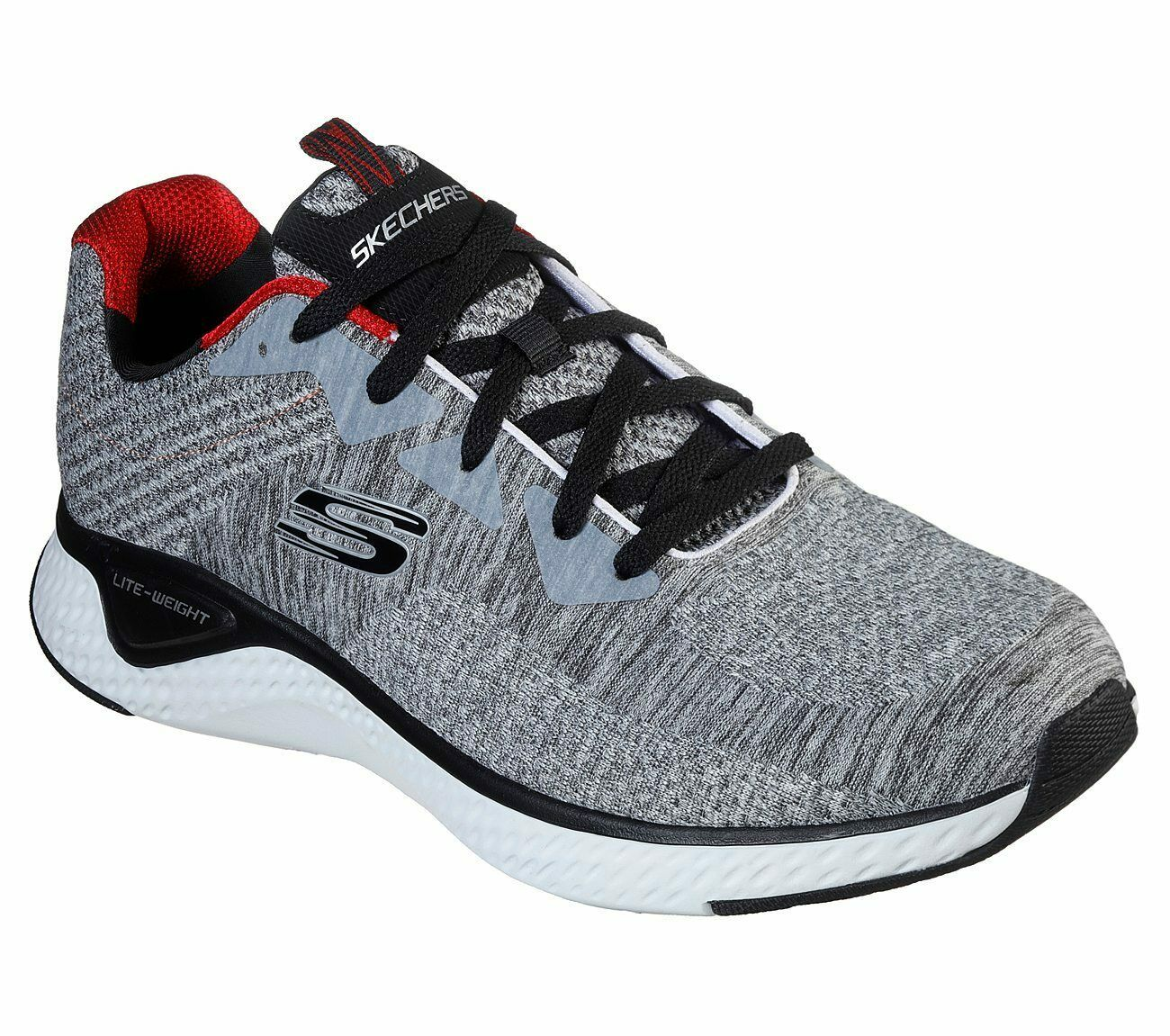Skechers Gray shoes Men Memory Foam Walk Train Sport Comfort Casual Woven 52758