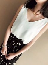 White Black Sleeveless Chiffon Top Summer Chiffon Tank Top White Bridesmaid Tops