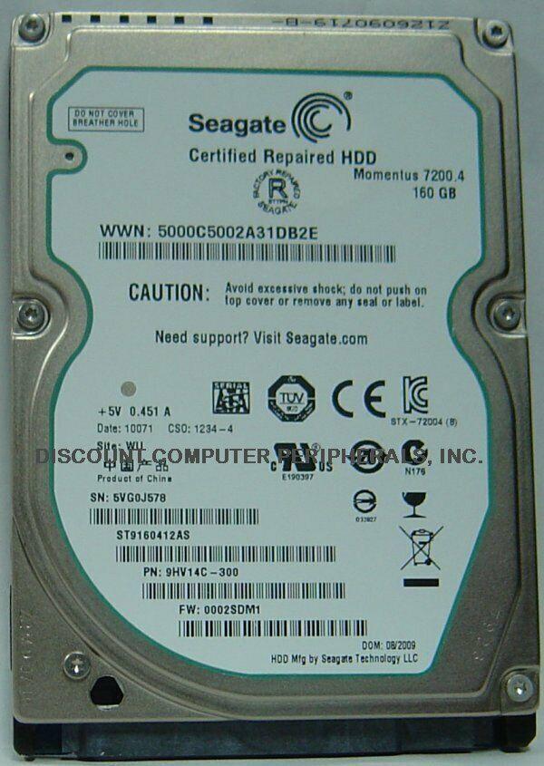 "New ST9160412AS Seagate 160GB 7200RPM SATA-2 2.5"" 9.5MM Hard Drive Free US Ship"