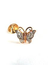 crystal and gold butterfly with rear clip Badge / tie pin,Lapel Pin Badge, boxed