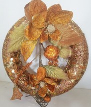 Orange Christmas Wreath Glitter and Large Sequins Decorated with Orange ... - $27.07