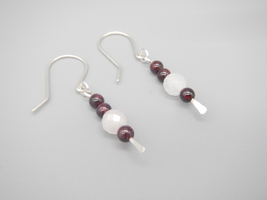 Garnet and Rose Quartz Dangle Earrings, Natural Gemstone, Red and Pink, ... - $18.00
