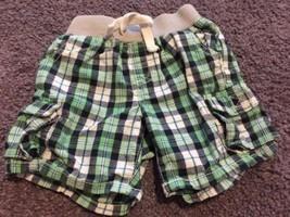 Crazy 8 Boys Teal Navy Blue White Plaid Cloth Elastic Waist Shorts 12-18... - $4.50