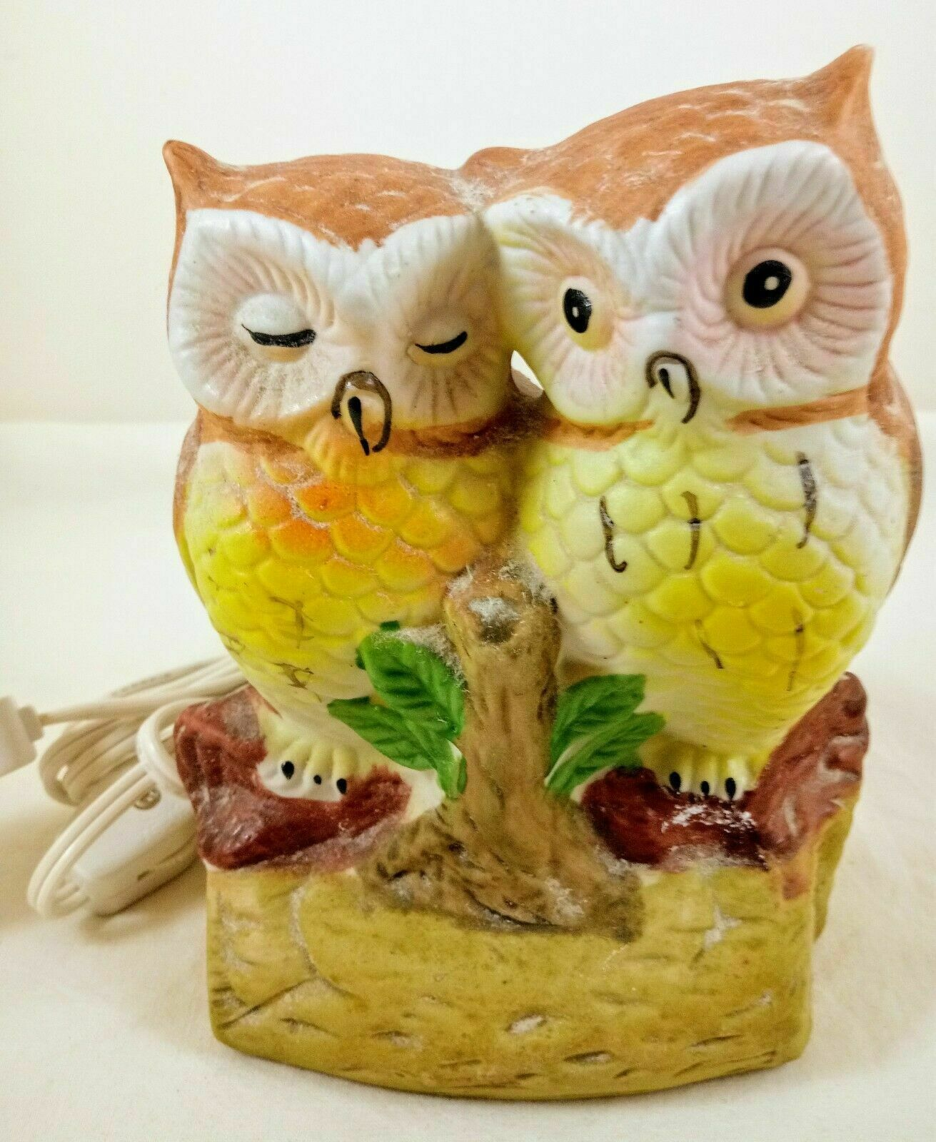 Primary image for Vintage Ceramic Owl Couple On Branch Accent Tv NIGHT Light