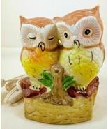 Vintage Ceramic Owl Couple On Branch Accent Tv NIGHT Light - $34.64