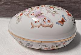 Avon Butterfly & Flower Egg-Shaped Porcelain Trinket Box 1979  - $8.95