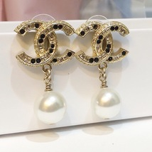[SALE] AUTH CHANEL GOLD 2 TONE BLACK LARGE CRYSTAL CC PEARL DROP EARRINGS  image 1