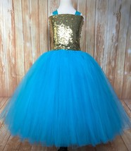 Gold and Turquoise Girls Tutu Dress, Turquoise Gold Birthday Party Tutu Dress - $50.00+