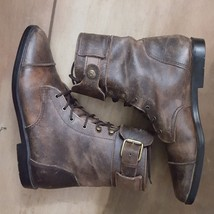 Vintage MIA Distressed Brown Leather Lace Up Boots - $31.50