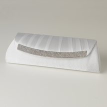 White Satin Evening Bag with Crystal Trim Accent and Closure, Silver Sho... - $59.00