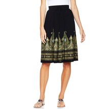 Twiggy Bollywood Fitted Waist A-Line Printed Crop Midi Skirt Black S NEW... - $18.78