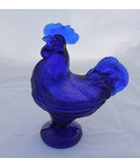 New Cobalt Blue Rooster Covered Dish Glass Chicken Retro Depression Style - $25.00