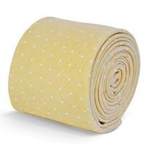 Frederick Thomas mens yellow cotton/linen tie with white pin spots