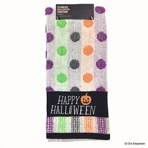 Happy Halloween Hand Towel Gray Purple Green Orange Polka Dots Jack 'O L... - $8.90