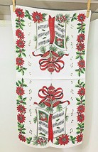 Vintage Linen Christmas Printed Hand Towel Poinsettia Musical Notes Exce... - $18.32