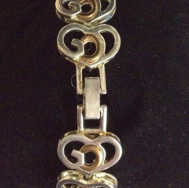 Vintage Heart Shapped Silver and Gold Tone Link Bracelet Signed SJ