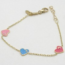 18K YELLOW GOLD BRACELET FOR KIDS WITH ENAMELLED HEART LOVE MADE IN ITALY  image 1