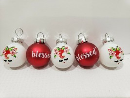 "Christmas MINI Glass Ball UNICORN BLESSED Ornaments 1"" Set of 5 - $9.99"