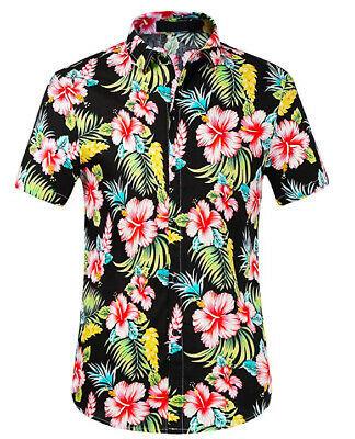Men's Tropical Aloha Beach Party Hawaiian Luau Button Up Casual Dress Shirt XL