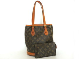 Authentic LOUIS VUITTON Monogram Canvas Leather Petit Bucket Bag with Pouch - $313.62