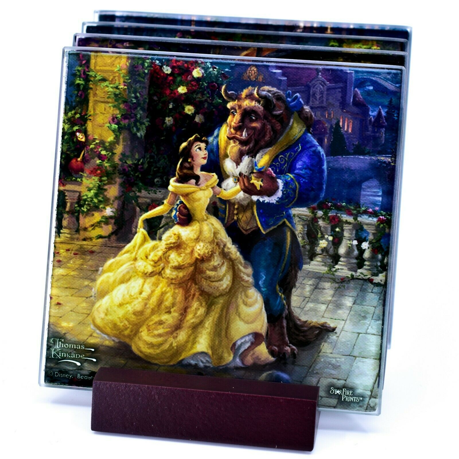Thomas Kinkade Disney's Beauty and the Beast Prints 4 Pc Fused Glass Coaster Set