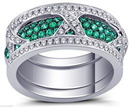 Beautiful Green And White Stack Able Ring With Pave Set Cubic Zirconia S... - $142.49