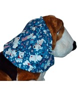 Blue Patriotic Pups Sparkle Cotton Dog Snood by Howlin Hounds Size Puppy... - $9.50
