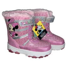 Disney Minnie Mouse Toddler Winter Snow Boots Pink White Brand New Size 10 - $42.06