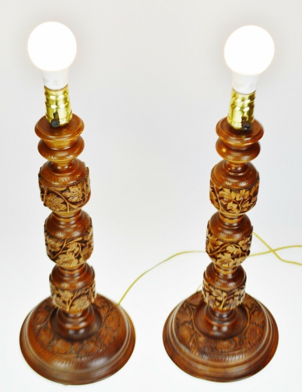 Vintage Hand Carved Turned Wood Table Lamps - A Pair image 4