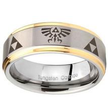 Legend of Zelda Design 10mm Gold Step Edges Tungsten Carbide Engraved Ring - $53.99