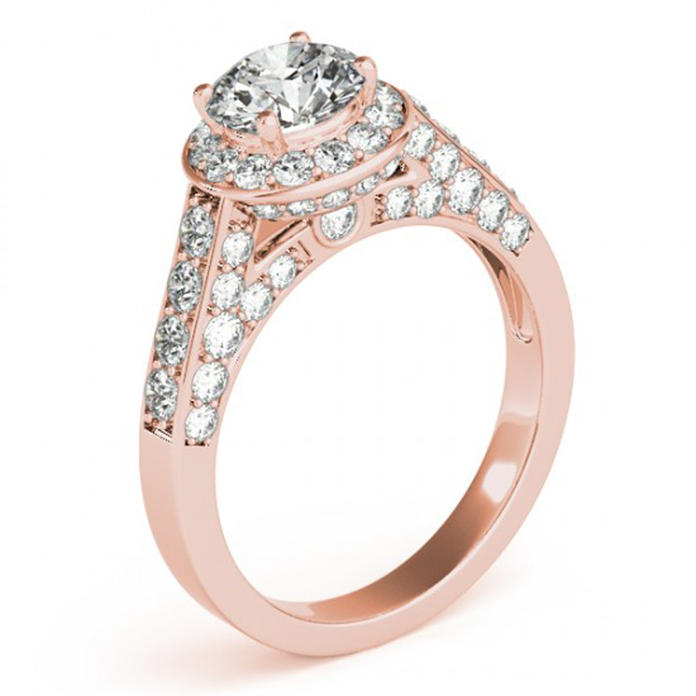 Women's Engagement Ring In Rose Gold Finish Sterling Silver Round Cut White CZ