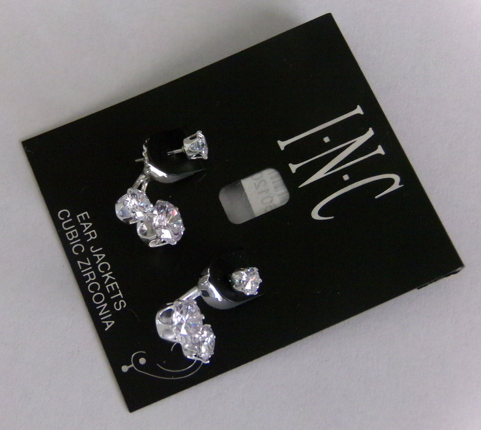 I.N.C. Cubic Zirconia Crystal Ear Jacket Earrings Double Stud Earring Jackets