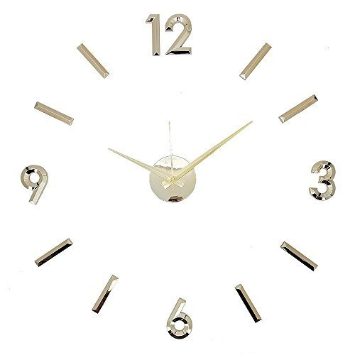 Modern Home Self Adhesive DIY 3D Wall Clock - Metallic Gold