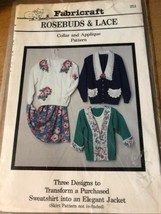 Pattern # 251 Rosebuds & Lace Collar & Applique transform sweatshirt to ... - $11.79