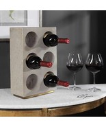 "URBAN INDUSTRIAL 15"" CONCRETE COUNTER TABLETOP 6 WINE BOTTLE HOLDER KYE - $160.60"
