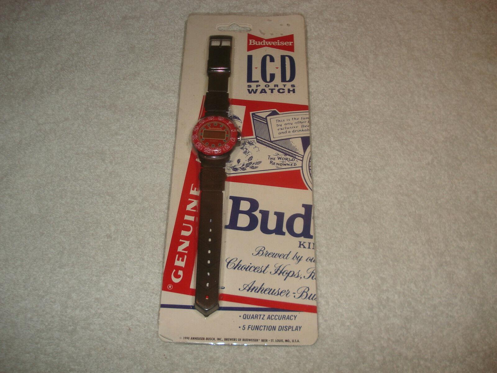 Vintage 1990 Budweiser Beer L.C.D Quartz Sport Watch Rare - $39.59
