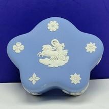 Wedgwood candy nut dish trinket jewelry box England horse chariot Blue cupid UK - $49.45