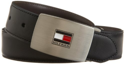 Tommy Hilfiger Men's Interchangable buckle and reversible belt boxed set, Black/