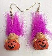 "Halloween Troll Pumpkin Earrings w/ Fuchsia Hair 1"" - $28.05"